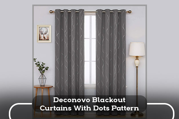Deconovo Blackout Curtains With Dots Pattern