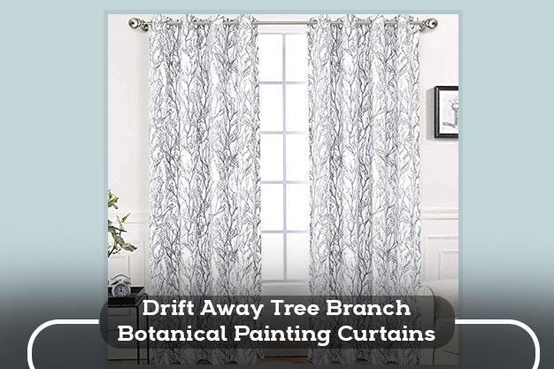 Drift Away Tree Branch Botanical Painting Curtains