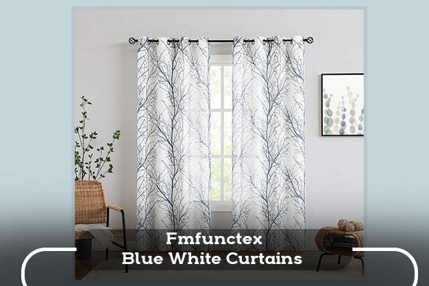 Fmfunctex Blue White Curtains